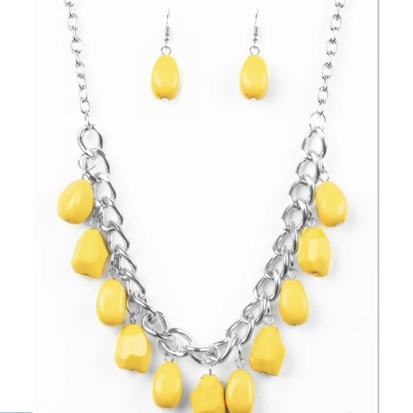 Yellow and silver necklace with earrings
